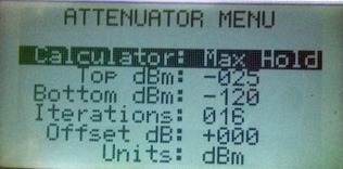 Attenuation Menu